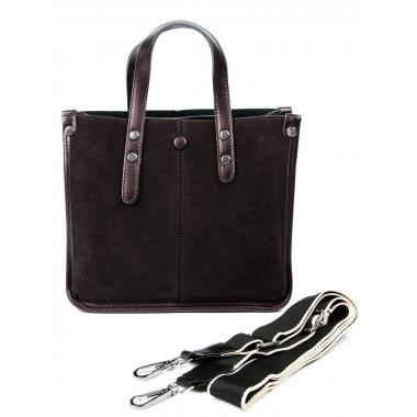Женская кожаная сумка STEN ЗАМША. Кофе жемчужный