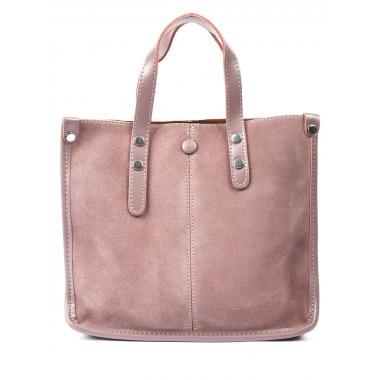Женская кожаная сумка STEN ЗАМША. Пудровый