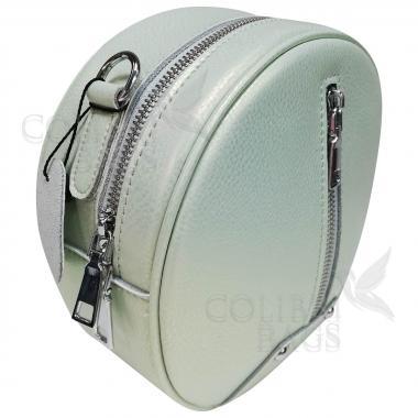 Кожаный рюкзак-трансформер Sunset. Салатовый перламутр