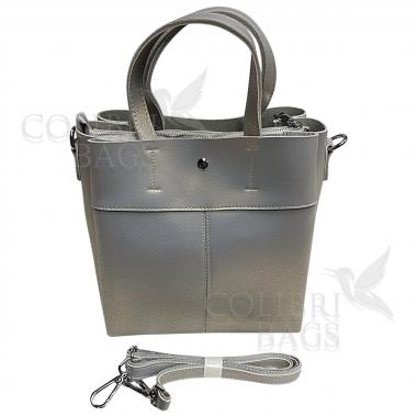 Женская кожаная сумка Sven. Серый перламутр