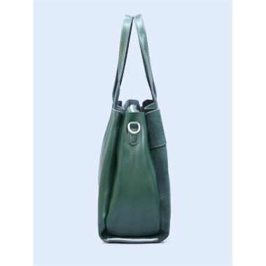 Женская кожаная сумка SVEN ЗАМША. Темно-зеленый