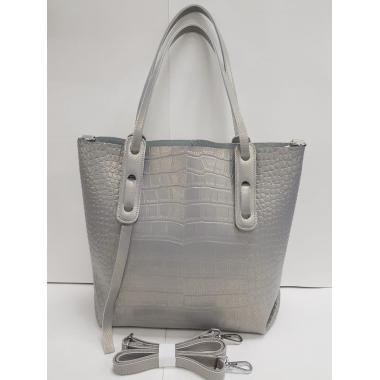 Женская кожаная сумка TAISA MAXI. Серый перламутр