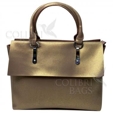 Женская кожаная сумка TARTY. Бежевый перламутр.