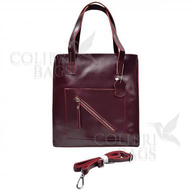 Женская кожаная сумка TATTI.  Ежевичный