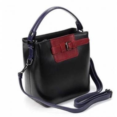 Женская кожаная сумка TERZA. Черный/бордо.