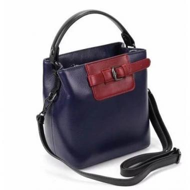Женская кожаная сумка TERZA. Синий/бордо.
