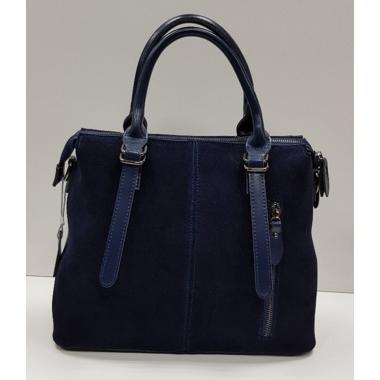Женская кожаная сумка TESLA ЗАМША.ТЕМНО-СИНИЙ.