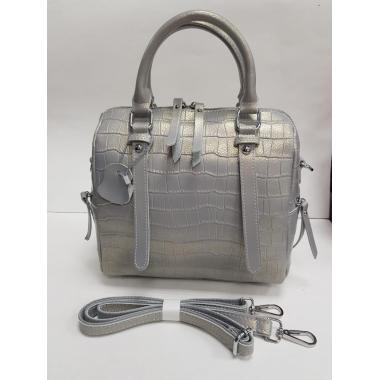 Женская кожаная сумка TESLINA PITON. Серый перламутр
