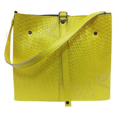 Женская кожаная сумка Tiana Illusion. Лимонный