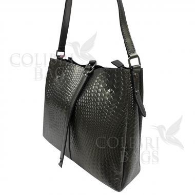 Женская кожаная сумка Tiana Illusion. Пепельный