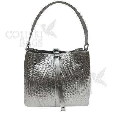 Женская кожаная сумка Tiana Illusion. Серебро