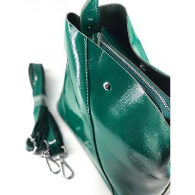 Женская кожаная сумка Todes Лак. Ярко-зеленый