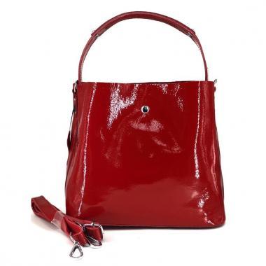 Женская кожаная сумка Todes Лак. Красный