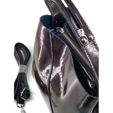 Женская кожаная сумка Todes Лак. Шоколад