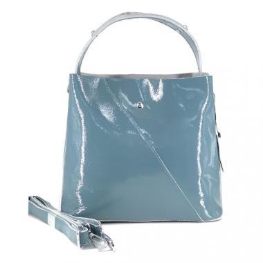 Женская кожаная сумка Todes Лак. Голубой