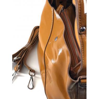 Женская кожаная сумка Todes Лак. Охра