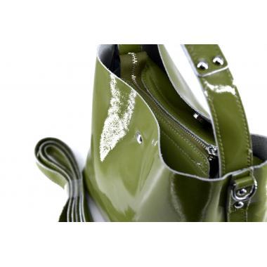 Женская кожаная сумка Todes Лак. Горчичный
