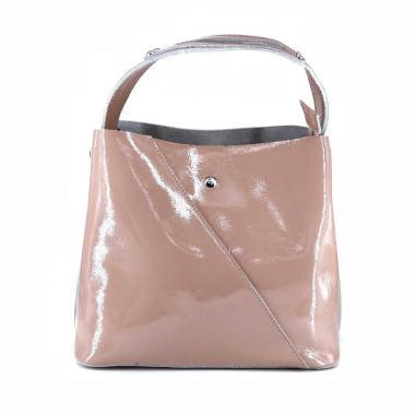 Женская кожаная сумка Todes Лак. Бежевый