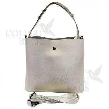Женская кожаная сумка Todes Nova. Белый перламутр.