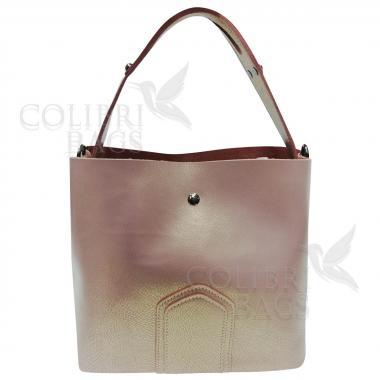 Женская кожаная сумка Todes Nova. Бежевый перламутр.