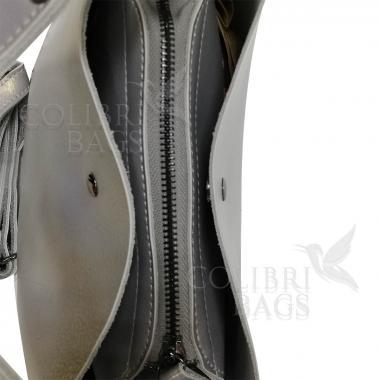 Женская кожаная сумка Todes Nova. Серый перламутр