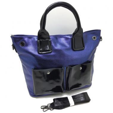 Женская кожаная сумка TOKA. Сапфир / Черный лак