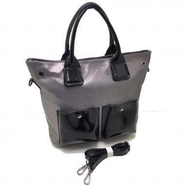 Женская кожаная сумка TOKA. Пепельный / Черный лак