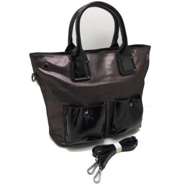 Женская кожаная сумка TOKA. Кофейный / Черный лак