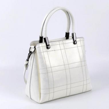 Женская кожаная сумка TRAVIZO. Белый перламутр.