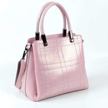 Женская кожаная сумка TRAVIZO. Розовый перламутр.