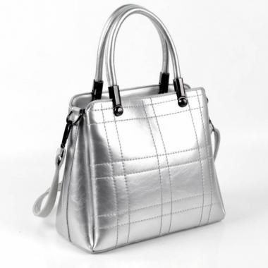 Женская кожаная сумка TRAVIZO. Светлое Серебро.
