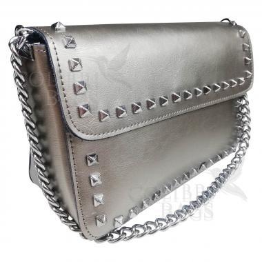 Женская кожаная сумка Unico. Серебро