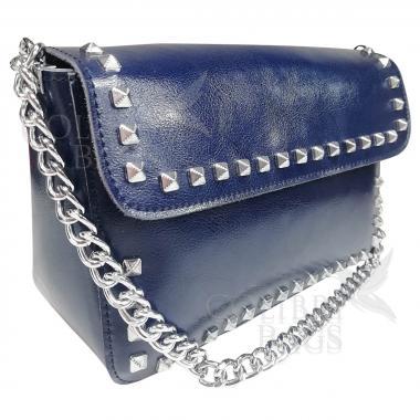 Женская кожаная сумка Unico. Темно-синий