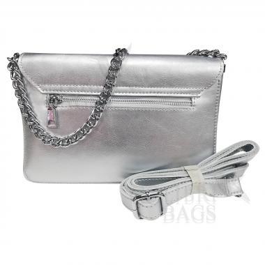 Женская кожаная сумка Unico. Светлое серебро