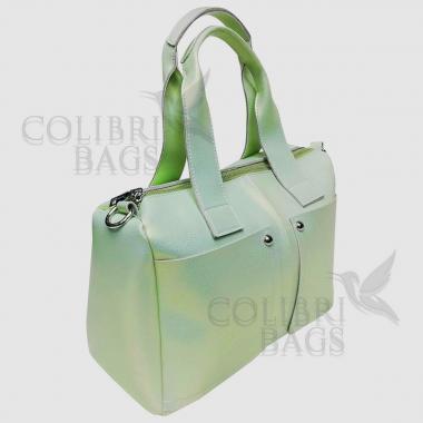 Женская кожаная сумка VEGA. Салатовый перламутр