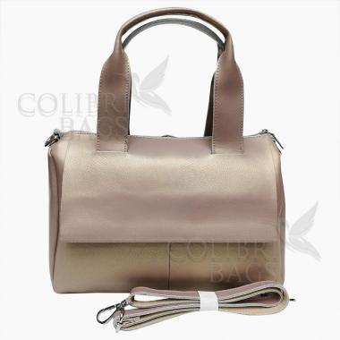 Женская кожаная сумка VEGA. Бежевый перламутр