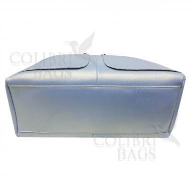 Женская кожаная сумка VEGA. Голубой перламутр