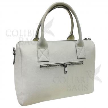 Женская кожаная сумка Vega Diplomat. Белый перламутр