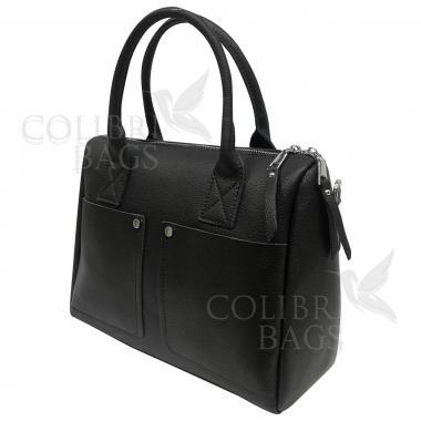 Женская кожаная сумка Vega Diplomat. Черный