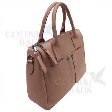Женская кожаная сумка Vega Diplomat. Пудровый