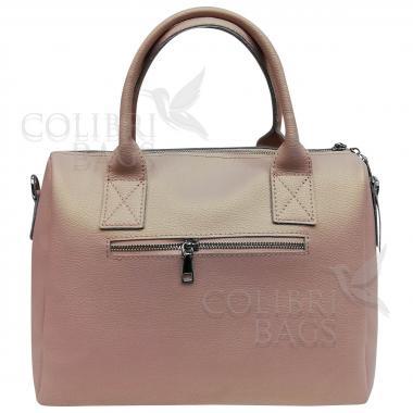 Женская кожаная сумка Vega Diplomat. Розовый перламутр