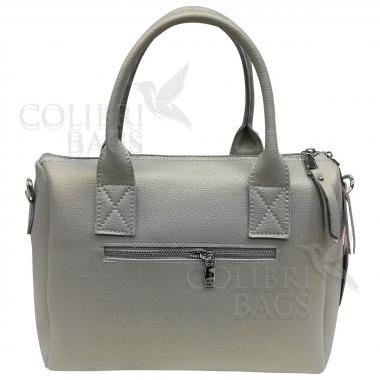 Женская кожаная сумка Vega Diplomat. Серый перламутр