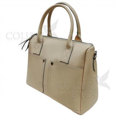 Женская кожаная сумка Vega Diplomat. Слоновая кость