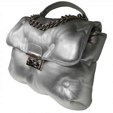 Женская стеганая сумка XINTY. Серебро.